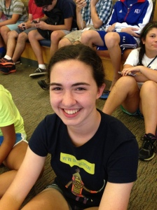 Lauren Fox from Barstow High School was extremely nervous to sing in front of the KJI campers.  Fox hoped to get all of the Barstow newspaper staff members to sing along with her to ease the jitterness.